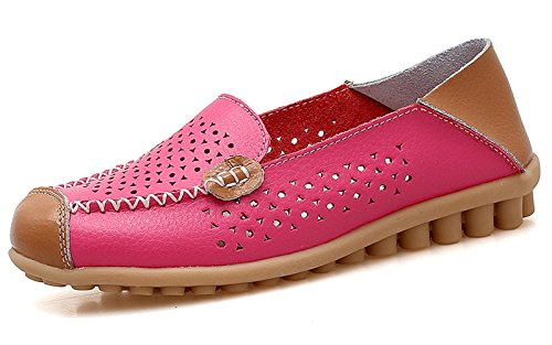 VenusCelia Women's Floral Comfort Walking Flat Loafer Concise Fushia(cutouts)