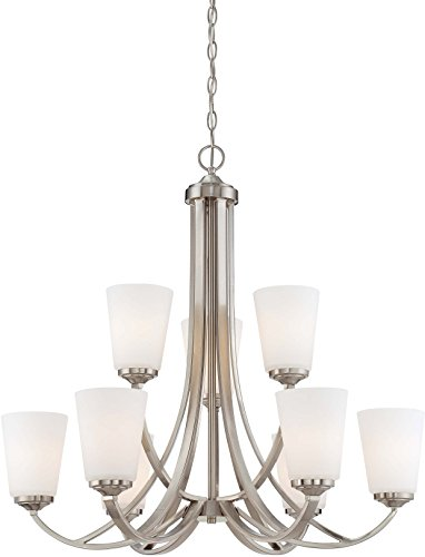 (Minka Lavery Minka 4969-84 Overland Park Transitional Chandelier, 9-Light, 900 Watts, Brushed Nickel)