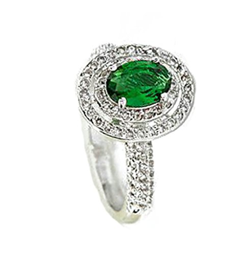 Women Wedding Rings Gold Plated Green Cubic Zirconia Oval Double Circle Rings Women Size 7.5 by - Opal Antique Oval Rug