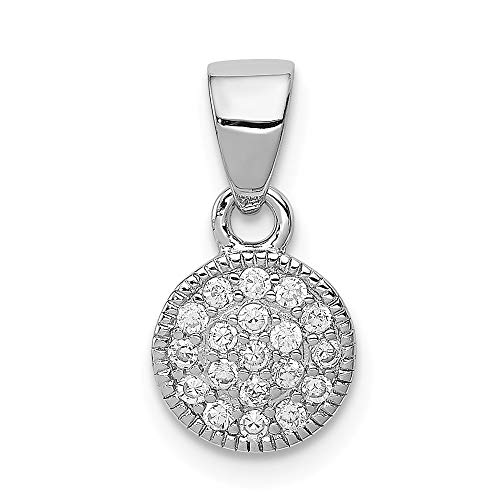 925 Sterling Silver Cubic Zirconia Cz Circle Pendant Charm Necklace Geometric Fine Jewelry Gifts For Women For Her ()
