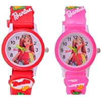 Shocknshop Analogue White Dial Pink Red Boy's and Girl's Wrist Watch - Pack of 2