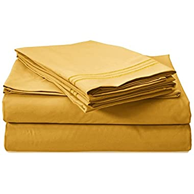 Clara Clark Premier 1800 Collection 4pc Bed Sheet Set - King Size, Yellow