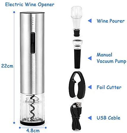 LinStyle Sacacorchos Eléctrico, Profesional Abridor de Vino Electrico, Abrebotellas Electrico con Cortacápsulas, Vertedor, Tapón de Vino de Vacío, Cable de USB, Regalo Ideal para los Amantes del Vino