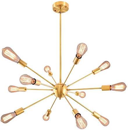 Sputnik Chandelier 12 Lights Modern Brushed Brass Ceiling Light Fixture Gold Retro Industrial Pendant Lighting for Dining Room Kitchen Living Room Bedroom 12lights-Brass