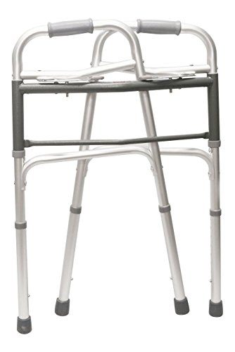 HEALTHLINE Junior Folding Walker with Wheels, Lightweight Deluxe 2 Button Folding Walker with 5-inch Wheels, Adjustable Medical Pediatric Small Aluminum Front Wheeled Walker for Seniors & Children