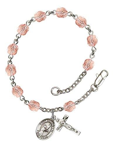 October Birth Month Bead Rosary Bracelet with Saint Bernadette Petite Charm, 7 1/2 Inch