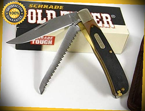 (Old Timer Buzzsaw Trapper Sharp Knife with Sheath 97OT perfect for outdoor camping hunting)