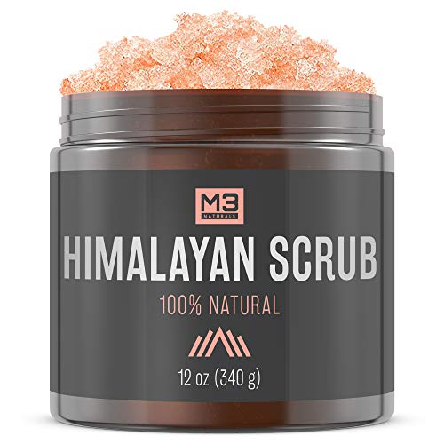 M3 Naturals Himalayan Salt Body & Face Scrub with Lychee Sweet Almond Oil All Natural Skin Care Exfoliating Blackheads Acne Scars Reduces Wrinkles Anti Cellulite Treatment 12 OZ (Scrub Face Almond)