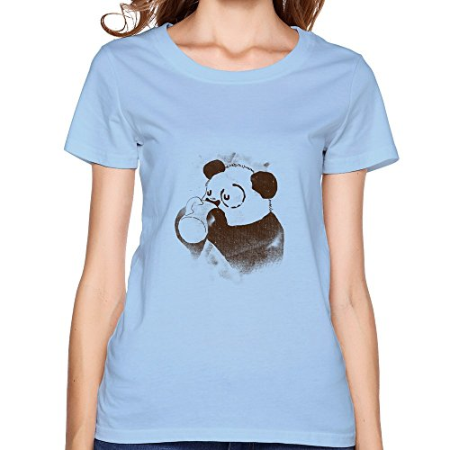 Tianbang New Design Panda Have A Cup Of Coffee Women's T Shirt Size S SkyBlue