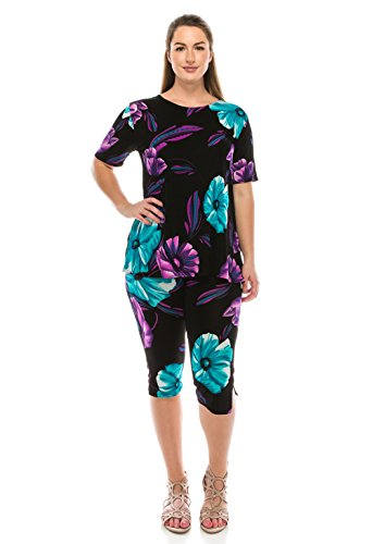 Jostar Women's Stretchy Capri Pant Set Short Sleeve Print Small Purple Dots