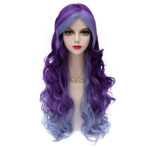 [Fashional COS Long Airy Curly Hair Ombre Hair Cosplay Wig Costume Party Wigs (Blue to Purple)] (Purple Wig Costumes)