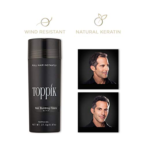 TOPPIK Hair Building Fibers, Black, 0.97 oz.
