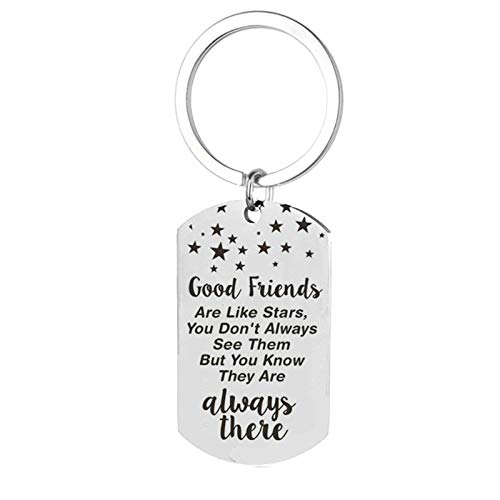 Aooaz Stainless Steel Key Chain Dog Tag Engraved Good Friends are Like Stars.Always There Mens Keychain Gift Silver B