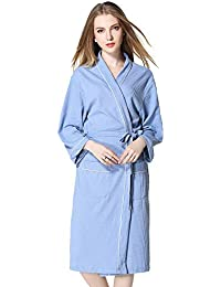 8f5567a6aa Womens Cotton Robe Soft Kimono Spa Bathrobe Solid Lightweight Long  Loungewear Brown