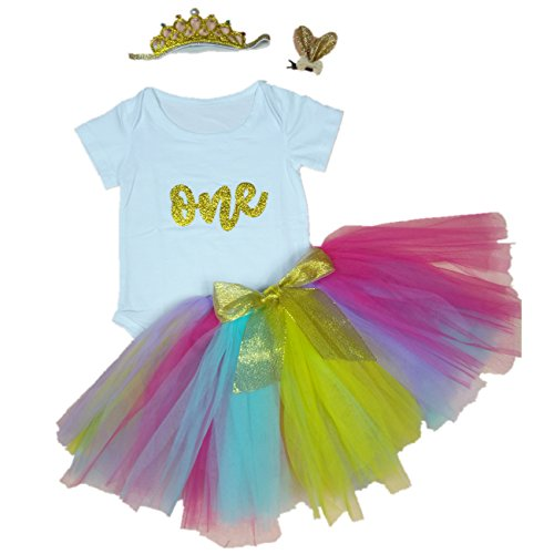 ESIINOY 4PCS Baby Girl 1st Birthday Rainbow Tutu Onesie Outfit Gold Skirt XL -