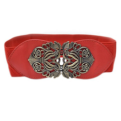 Womens Fashion Vintage Wide Elastic Stretch Waist Belt Waistband Length: approx. 58cm. Width: approx. 6.5cm (Red)