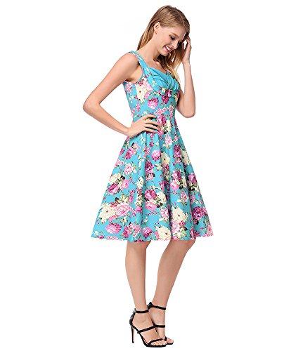 Beach Swing Dress Print Floral Blue A Light Flare Halter 50s Line Pleated Ruffle antaina 6ZxwR4R