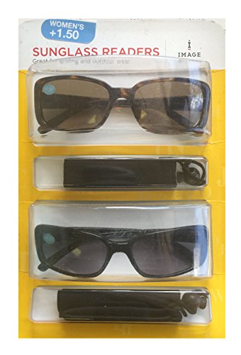 Image Readers Womens 2 Pack Trendy Frame Reading Sunglasses Glasses Block Out Ray UV and Gamma w/ +1.50 Magnification Viewing Pleasure Black Brown W/ Carry Pouch Driving Outdoor Safe Curved - Glasses Solar Ray