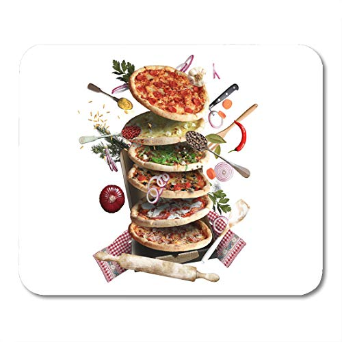 (Nakamela Mouse Pads Café Bacon Pizza with Different Tastes with Vegetables Cooking Baked Cheese Mouse mats 9.5