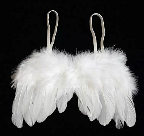 [BECUTE White Feather Angel Wings and Halo Full Fluff for 0-6 Month Baby, Baby Cupid Props Photo] (Newborn Angel Wings)