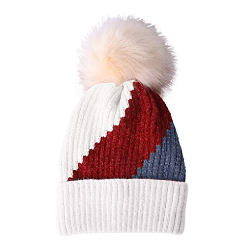 AIEason Womens Winter Pompom Beanie Hats Knit Tri-Color Stitching Thick Ski Cap with Warm Fleece Lined