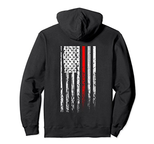 Firefighter Adult Hoody Sweatshirt (Unisex Thin Red Line Firefighter American Flag Patriot Hoodie Small Black)