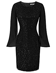 Women's Lace Sequin Cocktail Bodycon Dress