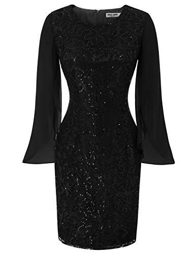 GRACE KARIN Sexy Lace Sequin Evening Party Bocycon Pencil Dress Plus Size 2XL Black CL968-1