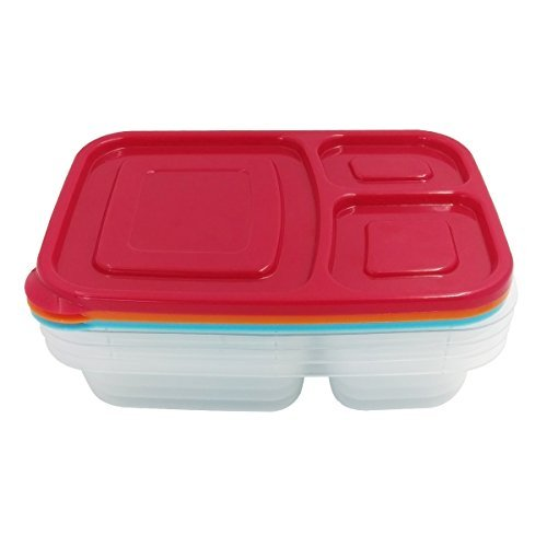 Hippih 4-PACK Bento Lunch Boxes with Lids - Stackable, Reusable, Microwave, Dishwasher & Freezer Safe
