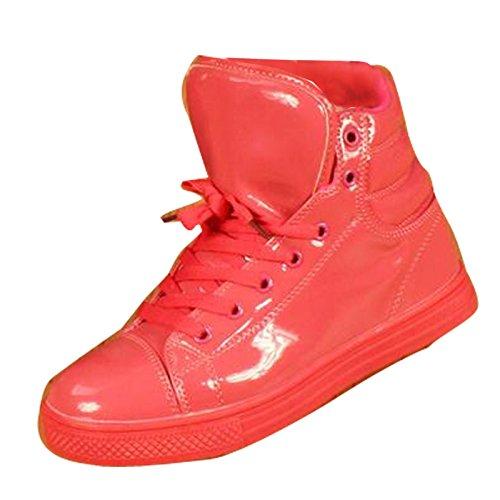 Gaorui New Women Uomo Lucido Alta Cima Scarpa Sportiva Impermeabile Pioggia Boot Danza Sneaker Plus Size Rose