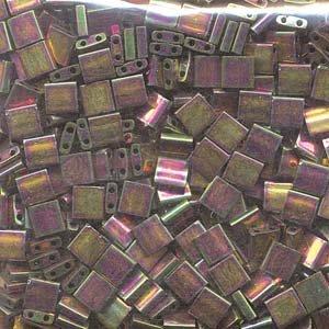 - Miyuki Tila 2 Hole Square Beads BRONZE MET IRIS LUSTER Crystal Beads