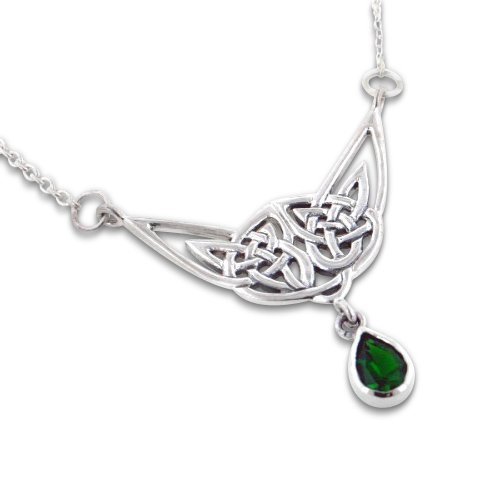 Simulated Emerald Green Glass Teardrop Sterling Silver Celtic Knot Necklace 18