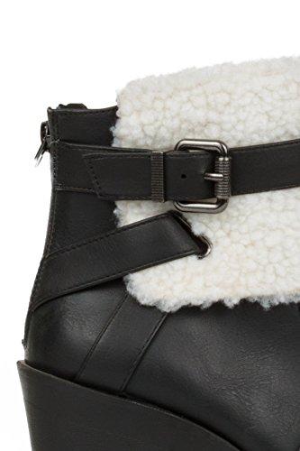 Block Boots Hadari Hadari Womens Trim Heel Shearling Womens Ankle Faux Faux n0xSwUqn