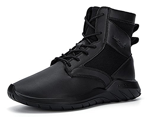 Soulsfeng Mens Womens Unisex Winter Flat Black Lace Up Cushioning Leather Ankle Snow Boot Black