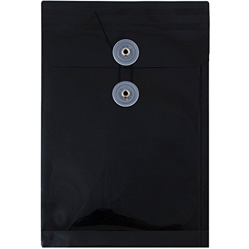 (JAM PAPER Plastic Envelopes with Button & String Tie Closure - 6 1/4 x 9 1/4 - Black - 12/Pack)