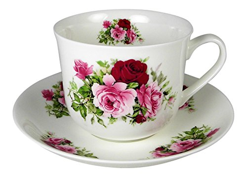 Adderley Breakfast Tea Cup and Saucer Set Fine Bone China Summer Roses England White Breakfast Cup