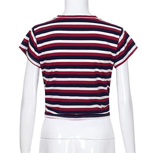 Eleganti Rotondo Top Magliette Shirts Estivi Manica Donna al Ragazze Ragazza A Tumblr Moda Corta Nodo Giovane Collo Rot Camicetta Crop Chic Righe Tempo Libero qYRdwY