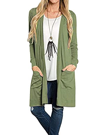 a7ebca4fd Tribear Women's Long Sleeve Open Front Loose Causal Lightweight Kimono  Cardigan(Beige,Large)