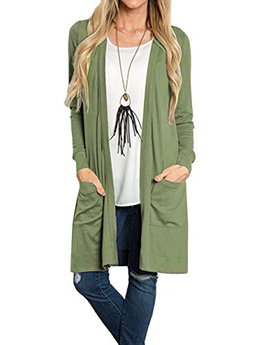 Tribear Women's Long Sleeve Open Front Loose Causal Lightweight Kimono Cardigan(ArmGreen,Medium) (Girls Long Cardigan)