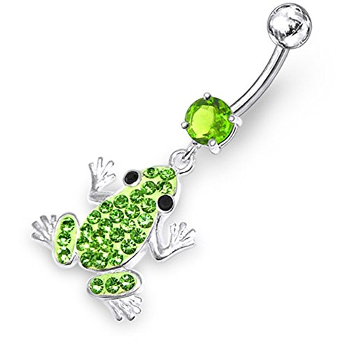 Light Green CZ Gemstone Fancy Multi Crystal Frog 925 Sterling Silver with Grade 23 Solid Titanium Belly Button (Sterling Crystal Twenty Light)