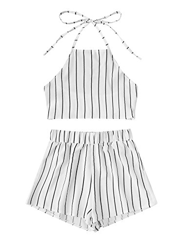 (MAKEMECHIC Women's 2 Piece Outfit Summer Striped V Neck Crop Cami Top with Shorts White-Stripe XL)