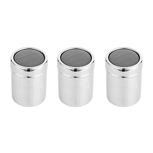 Amazon.com: OUNONA 3pcs Stainless Steel Seasoning Shaker, Sugar/Chocolate/Cocoa Powder Shakers, Salt Pepper Shaker Sets(Size M): Kitchen & Dining