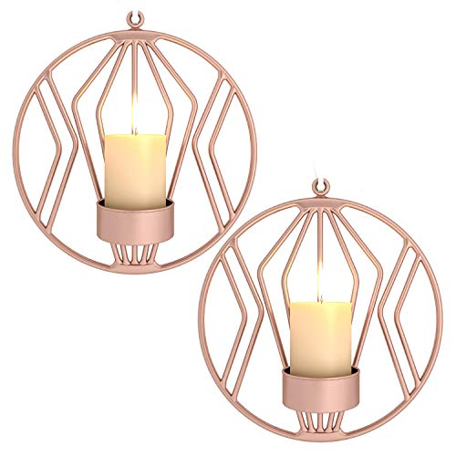 Pasutewel Wall Mounted Candle Holder Set of 2 Tea Light Candle Sconces Metal Wall Decor for Home Living Room Wedding Events (Rose Gold)