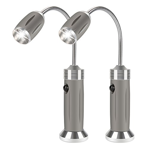 LiDiwee Flexible BBQ Light with Magnetic Base for Any Gas/Charcoal/Electric Grill, Work/Camping/Barbecue Grill LED Light Lamp, Zoomable, 3 Lighting Modes, Grey (1 Pair) by LiDiwee