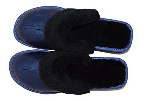 Natleat Slippers 89 Sheepskin Fur Slippers - Zapatillas de estar por casa de Piel para mujer Marrón marrón Navy Blue / 2