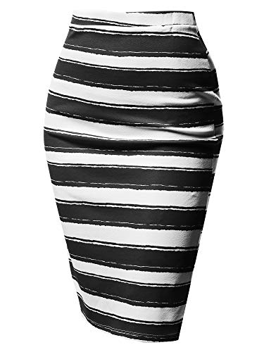 (Fitted Stretch Printed High Waist Midi Pencil Skirt Black Stripe Size 3XL)