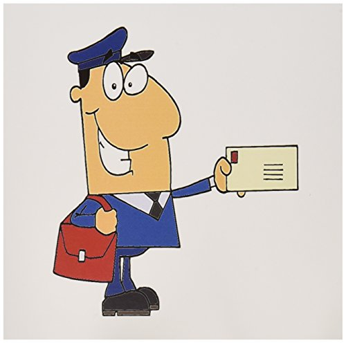 3dRose Happy Mailman Postal Worker Delivering Letter Greeting Cards, Set of 6 (gc_118752_1)
