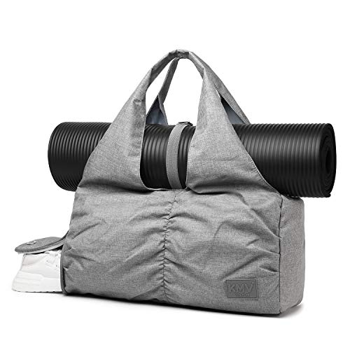 Travel Yoga Gym Bag for Women, Carrying Workout Gear, Makeup, and Accessories, Shoe Compartment and Wet Dry Storage Pockets, Large Sizes, Grey