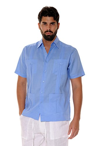 bohio Men's 100% Linen Guayabera Classic & Traditional 4-Pocket Short Sleeve Shirt in (8) ()