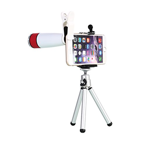WONBSDOM Universal 12X Zoom Clip-On Aluminum Telephoto Manual Focus Telescope Camera Lens Phone Lens (White) with Tripod + Retractable Phone Holder + Microfiber Cleaning Cloth for iPhone 4S 5 5S 5C 6 iTouch iPad Samsung Galaxy S3 S4 S5 S6 Note 2/3/4 HTC Nokia Sony,etc.